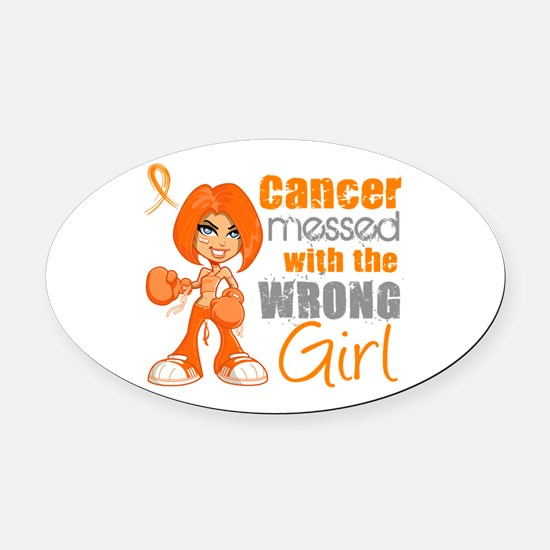 Leukemia Messed With Wrong Girl Oval Car Magnet