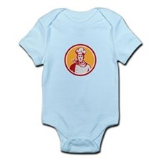 Baker Chef Cook Bust Front Circle Retro Body Suit