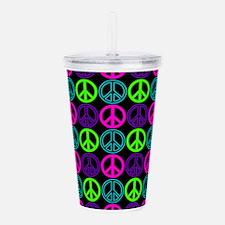 Peace Signs Multi Neon Acrylic Double-wall Tumbler