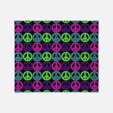 Peace Signs Multi Neon Pattern Throw Blanket