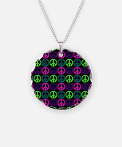 Peace Signs Multi Neon Patte Necklace
