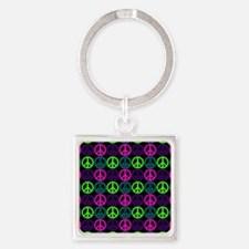 Peace Signs Multi Neon Pattern Square Keychain