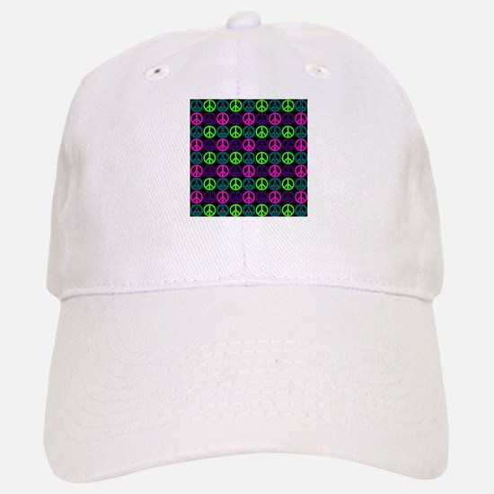 Peace Sign Multi Neon Colors Baseball Baseball Cap