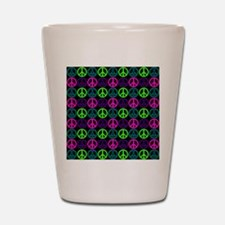 Peace Sign Multi Neon Colors Shot Glass