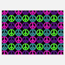 Peace Sign Multi Neon Colors Invitations