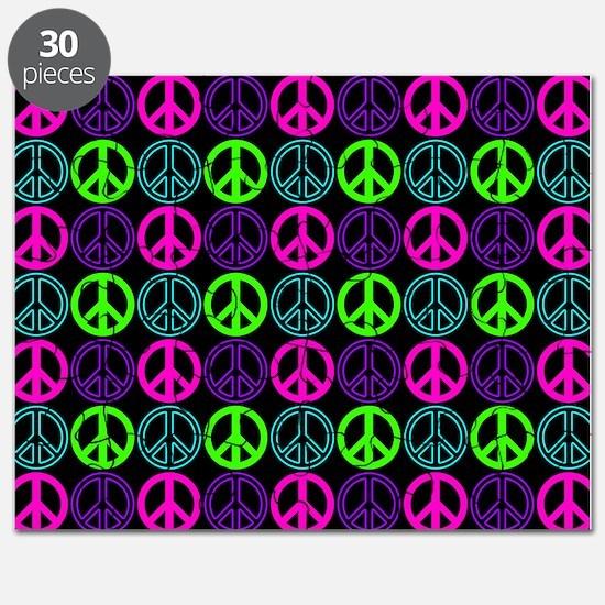 Peace Sign Multi Neon Colors Puzzle