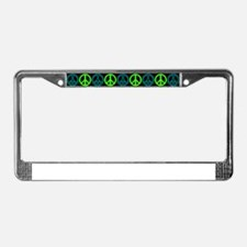Peace Sign Multi Neon Colors License Plate Frame
