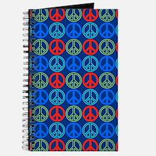 Peace Signs Multi Blue Pattern Journal