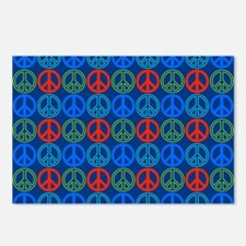 Peace Signs Multi Blue Pa Postcards (Package of 8)