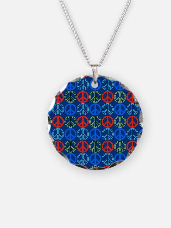 Peace Signs Multi Blue Patte Necklace