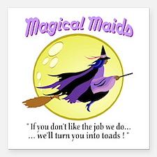 "Magical Maids Square Car Magnet 3"" x 3"""