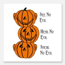 See, Hear, Speak No Evil Pumpkins Square Car Magne