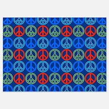 Peace Sign Multi Colors Blue Invitations