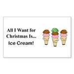 Christmas Ice Cream Sticker (Rectangle 10 pk)