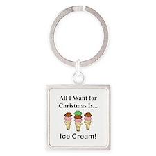 Christmas Ice Cream Square Keychain