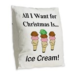 Christmas Ice Cream Burlap Throw Pillow