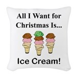 Christmas Ice Cream Woven Throw Pillow