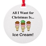 Christmas Ice Cream Round Ornament