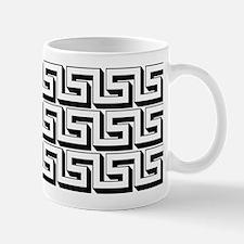 Greek Key White on Black Pattern Mug