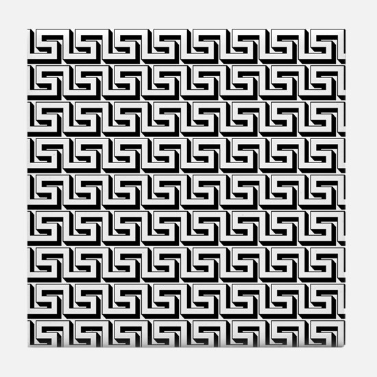 Greek Key White on Black Pattern Tile Coaster