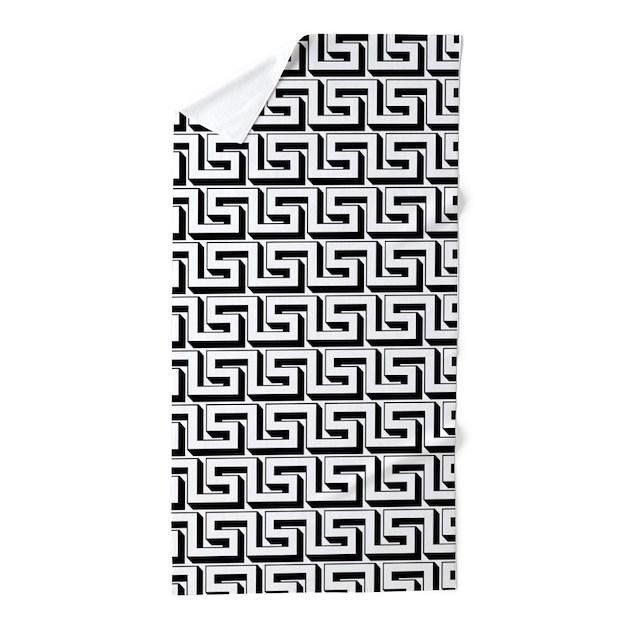 Greek Key White On Black Pattern Beach Towel By HHTrendyHome
