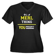 Cute Merl Women's Plus Size V-Neck Dark T-Shirt