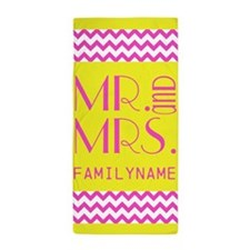 Mr. Mrs. Chevron Stripes Beach Towel