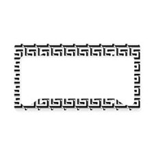 White on Black Greek Key Patt License Plate Holder