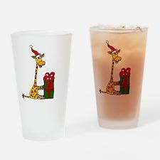Christmas Giraffe Drinking Glass
