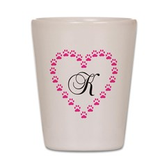 K Letter With Heart Images Heart Monogram Letter K Shot Glass > Pink Paw Heart Monogram Letter K ...