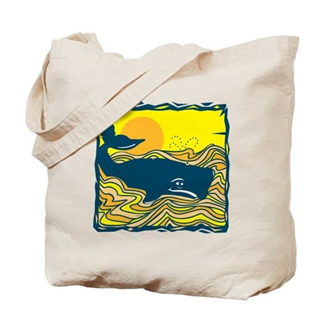 Swimming in Waves Whale Design Tote Bag