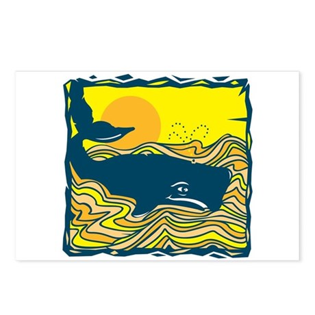 Swimming in Waves Whale Design Postcards (Package