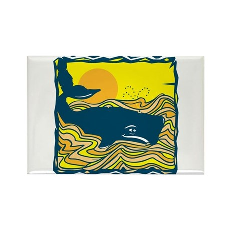 Swimming in Waves Whale Design Rectangle Magnet (1