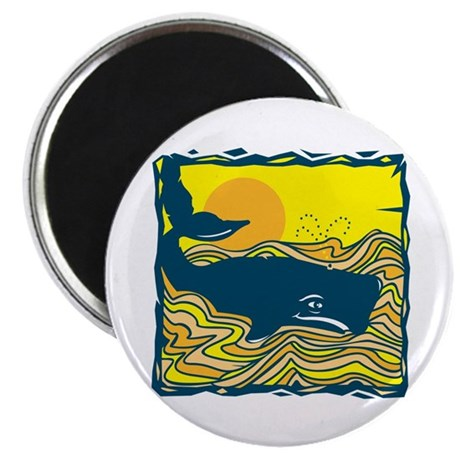 Swimming in Waves Whale Design Magnet