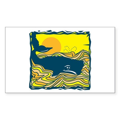 Swimming in Waves Whale Design Sticker (Rectangula