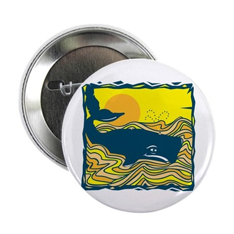 """Swimming in Waves Whale Design 2.25"""" Button (10 pa"""