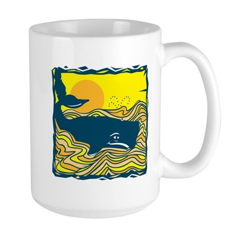 Swimming in Waves Whale Design Large Mug