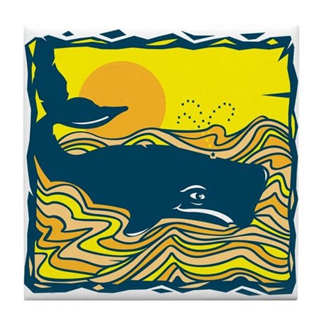 Swimming in Waves Whale Design Tile Coaster