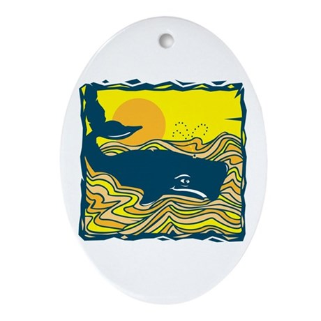 Swimming in Waves Whale Design Oval Ornament
