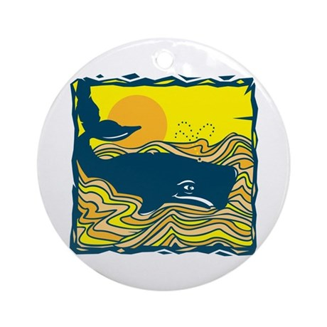 Swimming in Waves Whale Design Ornament (Round)