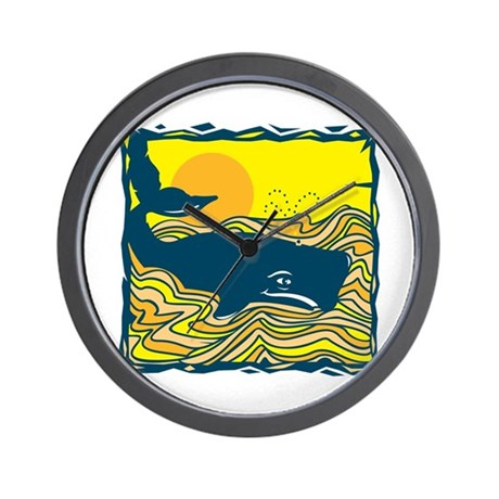 Swimming in Waves Whale Design Wall Clock