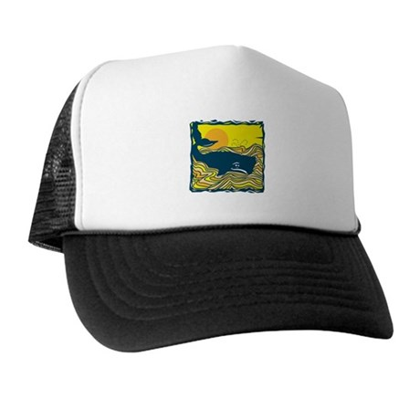 Swimming in Waves Whale Design Trucker Hat