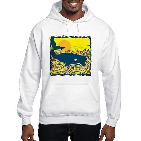 Swimming in Waves Whale Design Hooded Sweatshirt
