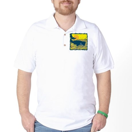 Swimming in Waves Whale Design Golf Shirt