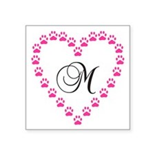 Pink Paw Heart Monogram Letter M Sticker