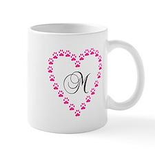 Pink Paw Heart Monogram Letter M Mugs