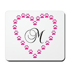 Pink Paw Heart Monogram Letter M Mousepad