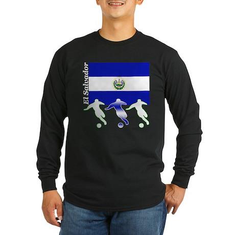 El Salvador Soccer Long Sleeve Dark T-Shirt
