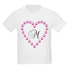Pink Paw Heart Monogram Letter M T-Shirt