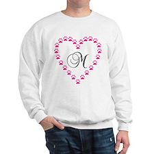 Pink Paw Heart Monogram Letter M Sweatshirt